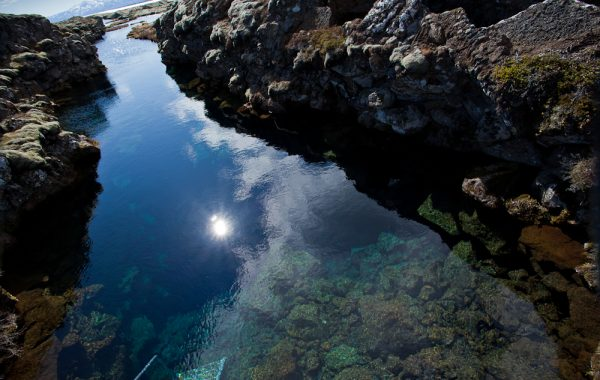 Silfra dive site in Thingvellir National Park, Iceland.